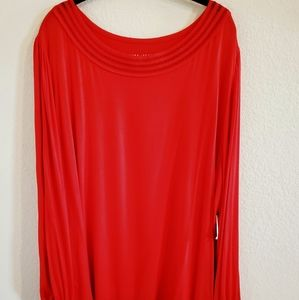 Ava & Viv long sleeve top red size 3X round neck